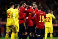 Oyarzabal, Morata, Saúl y Gayá festejan el 5-0 en el Metropolitano.