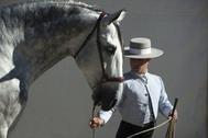 Un caballista con su caballo, en una edición anterior de Sicab en Sevilla.