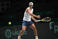 El tenista Rafa Nadal en un entrenamiento de la Copa Davis