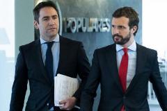 Teodoro García Egea y Pablo Casado, al llegar al Comité de Dirección del PP.