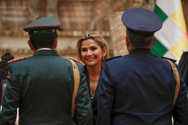 Bolivian Interim President Jeanine <HIT>Anez</HIT> attends a ceremony...