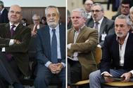 A la izqda., los ex presidentes andaluces Manuel Chaves y José Antonio Griñán. A la dcha, Pablo Crespo y Francisco Correa.