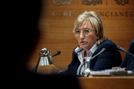 La consellera de Sanidad, Ana Barceló, en una de sus últimas intervenciones en las Cortes.