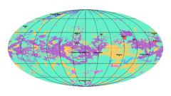 El mapa de Titán muestra las zonas de llanura (verde), las dunas (morado), montículos y zonas montañosas (naranjaI, lagos y maros (azul), zonas kársticas (fucsia) y cráteres (rojo)