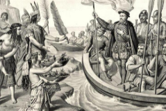 Representación idealizada de la llegada de Hernán Cortés a México .