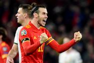 Bale celebra la clasificación de Gales.