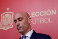 Rubiales, durante una conferencia de prensa en Las Rozas