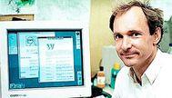 El físico Tim Berners-Lee en la década de los 80. / Boceto de la propuesta de World Wide Web que presentó al CERN.