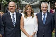 Los ex presidentes de la Junta de Andalucía, Chaves, Díaz y Griñán.
