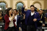 Los dirigentes de ERC Marta Vilalta, Pere Aragonés y Gabriel Rufián, en la noche electoral del pasado 10 de noviembre.