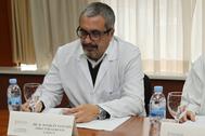 Joaquín Sanchís durante un consejo en el Hospital Provincial de Castellón.