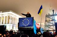 El impulsor de la revolución de Maidan, Mustafa Nayem, en una protesta en 2013.