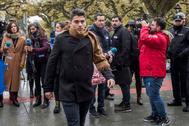 Raúl Calvo, uno de los acusados, a su llegada a la Audiencia de Burgos.