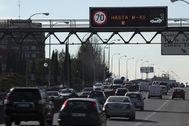 La M-30 de Madrid durante un episodio de alta contaminación en 2018.