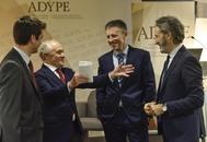 Oriol Aspachs, Vázquez Eguskiza, presidente de Adype, y Joseba Madariagam ayer en Bilbao.