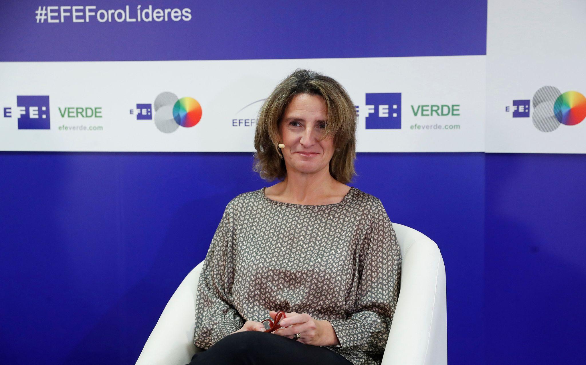 La ministra para la Transición Ecológica en funciones, Teresa Ribera, en el Foro Líderes de la Agencia EFE