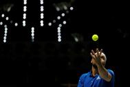Tsonga, durante el partido ante Krajinovic.