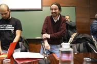 El secretario general de Unidas Podemos, Pablo Iglesias, ayer en un acto en la Facultad de Derecho de la  Universidad Complutense,