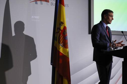 El presidente del Gobierno en funciones, Pedro Sánchez, en la...