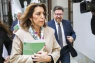 La líder del PSOE andaluz, Susana Díaz, en los pasillos del Parlamento la semana pasada.