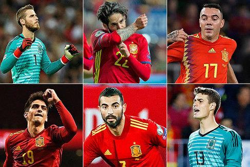 Arriba: De Gea, Isco, Aspas: Abajo: Gerard Moreno, Albiol y Kepa.