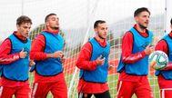 Un instante de un entrenamiento del Real Mallorca de esta semana
