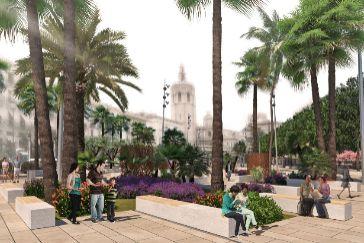 Figuración de la futura plaza de la Reina de Valencia tras la reforma.