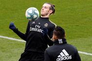 GRAF4084. MADRID.- El delantero galés del Real Madrid, Gareth <HIT>Bale</HIT> durante el entrenamiento del equipo en la ciudad deportiva de Valdebebas este viernes en Madrid, previo al partido correspondiente a la jornada 14 de LaLiga contra la Real Sociedad.