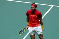Rafa Nadal celebra su victoria ante Schwartzman.