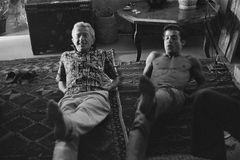 American author and composer Paul Bowles (left) and Moroccan author Mohammed <HIT>Mrabet</HIT> exercise. (Photo by © Shepard Sherbell/CORBIS/Corbis via Getty Images)***pablo Gil, cultura