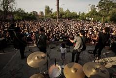 El grupo chileno Los Prisioneros, durante un concierto gratuito en Santiago.