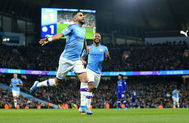 <HIT>Manchester</HIT> City (United Kingdom).- <HIT>Manchester</HIT> City's Riyad Mahrez celebrates after scoring a goal during the English Premier League match between <HIT>Manchester</HIT> City and Chelsea in <HIT>Manchester</HIT>, Britain, 23 November 2019. (Reino Unido) EPA/ EDITORIAL USE ONLY. No use with unauthorized audio, video, data, fixture lists, club/league logos or 'live' services. Online in-match use limited to 120 images, no video emulation. No use in betting, games or single club/league/player publications
