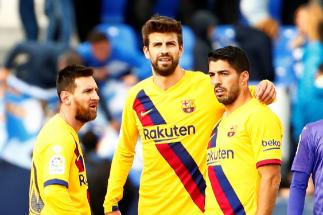 Messi, Piqué y Suárez, el sábado en Butarque.