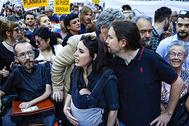Pablo Echenique, Irene Montero y Pablo Iglesias, en la manifestación contra el cambio climático, en septiembre.
