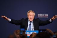 Boris Johnson durante el lanzamiento de su manifiesto.