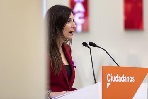 Lorena Roldán, este lunes en la sede de Ciudadanos.