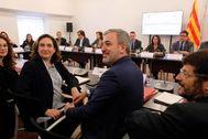 Antonio Moreno 25.11.2019 Barcelona Cataluña .Comisión mixta entre la Generalitat y Ayto. de Barcelona consellera Budó y <HIT>Colau</HIT> alcaldesa de Barcelona.