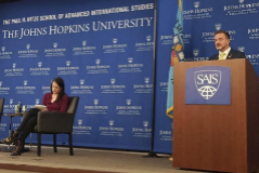 Alfred Bosch, consejero de Acción Exterior, en la Universidad Johns Hopkins el miércoles.