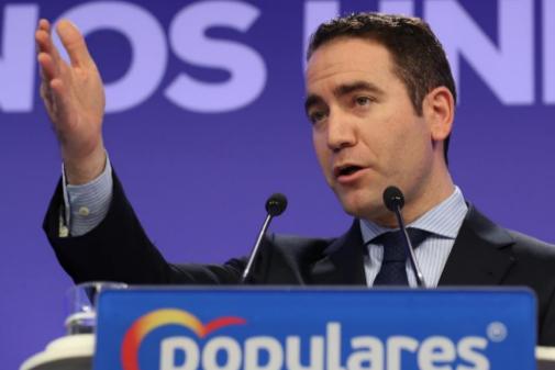 Teodoro García Egea, en rueda de prensa en la sede nacional del PP.