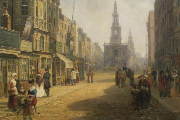 Uno de los cuadros de los arrabales de Londres que conservaba Charles Dickens en su casa.
