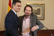 El presidente del Gobierno español en funciones, el socialista <HIT>Pedro</HIT> <HIT>Sánchez</HIT>, y el líder de Unidas Podemos, <HIT>Pablo</HIT> <HIT>Iglesias</HIT>.