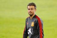 Luis Enrique en una entrenamiento con la selección española de fútbol