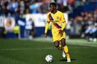 Ousmane Dembele en un partido con el FC Barcelona