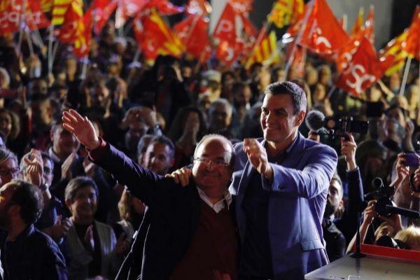 Sánchez e Iceta, en un acto de campaña.