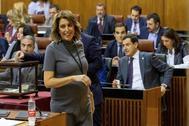La ex presidenta de la Junta y líder del PSOE-A, Susana Díaz, este miércoles en el Parlamento.