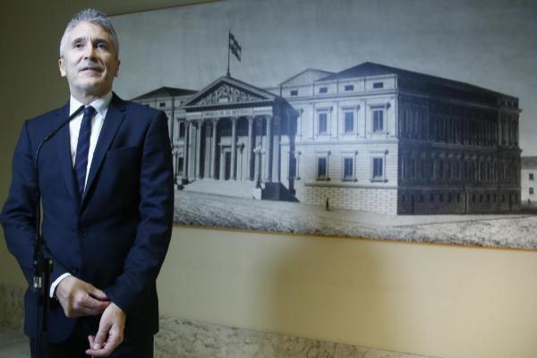 El ministro del Interior en funciones, Fernando Grande-Marlaska, en la...