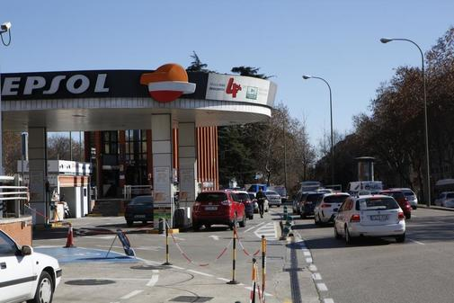 Gasolinera en Atocha, Madrid.