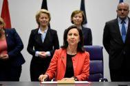 La ministra de Defensa en funciones, Margarita Robles, en una cumbre celebrada recientemente en Luxemburgo.