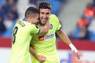 Jaime Mata celebra el gol de la victoria en Turquía.