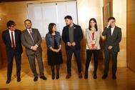 De izqda. a dcha., Salvador Illa (PSC), José Luis Ábalos (PSOE), Adriana Lastra (PSOE), Gabriel Rufián (ERC), Marta Vilalta (ERC) y Josep Maria Jové (ERC), este jueves, en el Congreso.